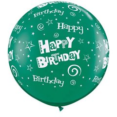 Baloane latex Jumbo 3' inscriptionate Birthday Stars & Swirls-A-Round Emerald Green, Qualatex 46323, set 2 buc