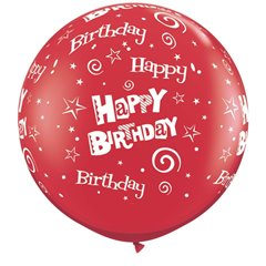 Baloane latex Jumbo 3' inscriptionate Birthday Stars & Swirls-A-Round Ruby Red, Qualatex 46324, set 2 buc
