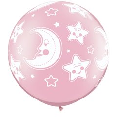 "Baloane latex Jumbo 30"" inscriptionate Baby Moon & Stars-A-Round Pearl Pink, Qualatex 32121, set 2 buc"