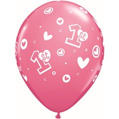 "Baloane latex 11"" inscriptionate 1st Birthday Circle Hearts – Girl Rose, Qualatex 41185"