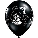 "Baloane latex 11"" inscriptionate Pirate's Treasure Map Onyx Black, Qualatex 37234"