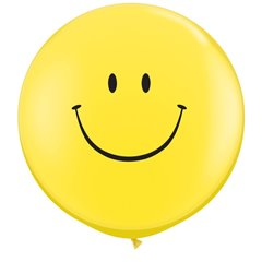 Baloane latex Jumbo 3' inscriptionate Smile Face Yellow, Qualatex 29211, set 2 buc