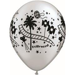 "Baloane latex 11"" inscriptionate Hollywood Stars Silver, Qualatex 92037, set 25 buc"