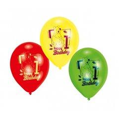 "Baloane latex 8"" inscriptionate Winnie Pooh, Happy 1st Birthday Asortate, Amscan 450246, set 6 buc"