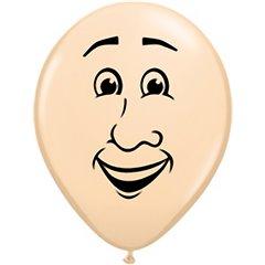 "Baloane latex 16"" inscriptionat Men's face Blush, Qualatex 99309, set 50 buc"