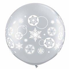 "Baloane latex Jumbo 30"" inscriptionate Snowflakes & Circles Silver, Qualatex 60282, 1 buc"