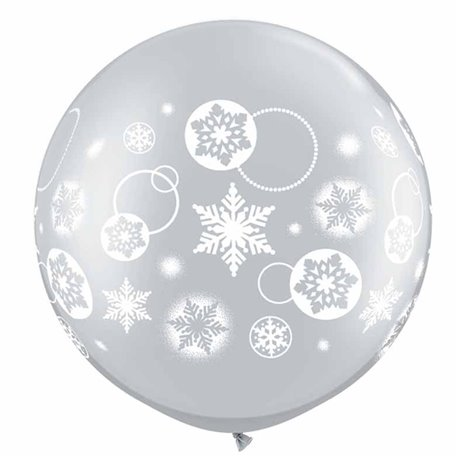 "Baloane latex Jumbo 30"" inscriptionate Snowflakes & Circles Silver, Qualatex 60282, set 2 buc"