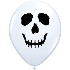 "Baloane latex 5"" inscriptionate, Skull Face White, Qualatex 96597, set 100 buc"