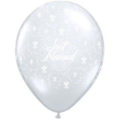 "Baloane latex 24"" inscriptionate Just Married Flowers-A-Round Diamond Clear, Qualatex 82098, set 25 buc"