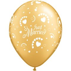 "Baloane latex 11"" inscriptionate Just Married Hearts-A-Round Gold, Qualatex 88439, set 100 buc"