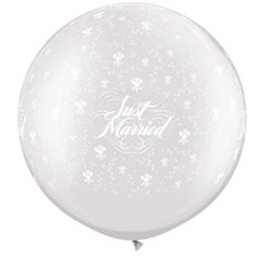 "Baloane latex Jumbo 30"" inscriptionate Just Married Flowers-A-Round Pearl White, Qualatex 29208, 1 buc"
