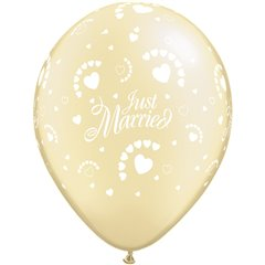 "Baloane latex 11"" inscriptionate Just Married Hearts-A-Round Pearl Ivory, Qualatex 88440, set 100 buc"