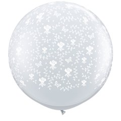 Baloane latex Jumbo 3' inscriptionate Flowers-A-Round Diamond Clear, Qualatex 28153, set 2 buc