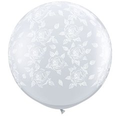Baloane latex Jumbo 3' inscriptionate Elegant Roses-A-Round Diamond Clear - White Ink, Qualatex 28178, set 2 buc