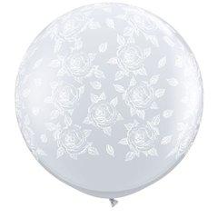 Baloane latex Jumbo 3' inscriptionate Elegant Roses-A-Round Diamond Clear - White Ink, Qualatex 28178, set 2 buc