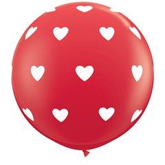Baloane latex Jumbo 3' inscriptionate Big Hearts-A-Round Red, Qualatex 31089, set 2 buc