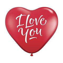 Balon latex Jumbo Inima 3' inscriptionate I Love You Script Red, Qualatex 29509, 1 buc