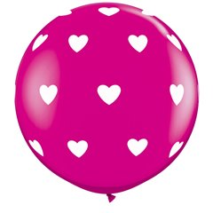 Baloane latex Jumbo 3' inscriptionate Big Hearts-A-Round Wild Berry, Qualatex 31416, set 2 buc