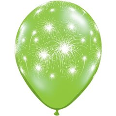"Baloane latex 11"" inscriptionate Fireworks-a-round Lime Green, Qualatex 91993, set 25 buc"