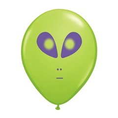 "Baloane latex 5"" inscriptionate Space Alien Lime Green, Qualatex 79711, set 100 buc"