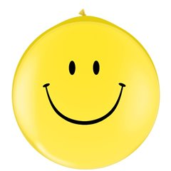 Baloane latex Jumbo 3' inscriptionate Smile Face Yellow, Qualatex 29210, set 2 buc