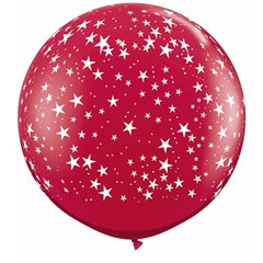 Baloane latex Jumbo 3' inscriptionate Stars-A-Round Ruby Red, Qualatex 29266, set 2 buc