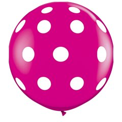Baloane latex Jumbo 3 ft inscriptionate Big Polka Dots-A-Round Wild Berry, Qualatex 26172, 1 buc