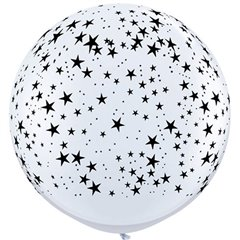 Baloane latex Jumbo 3' inscriptionate Stars-A-Round White, Qualatex 29265, set 2 buc
