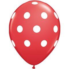 "Baloane latex 11"" inscriptionate Big Polka Dots Red, Qualatex 29510, set 25 buc"