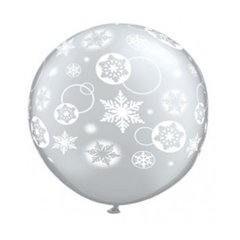 Baloane latex Jumbo 3' inscriptionate Snowflakes & Circles Diamond Clear, Qualatex 60281, set 2 buc