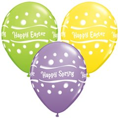 "Baloane latex 11"" inscriptionate Happy Spring Easter Dots Asortate, Qualatex 76615, set 25 buc"