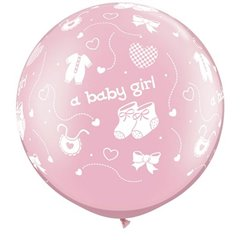 "Baloane latex Jumbo 30"" inscriptionate A Baby Girl-A-Round Pearl Pink, Qualatex 81487, 1 buc"