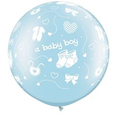 "Baloane latex Jumbo 30"" inscriptionate A Baby Boy-A-Round Pearl Light Blue, Qualatex 81486, set 2 buc"