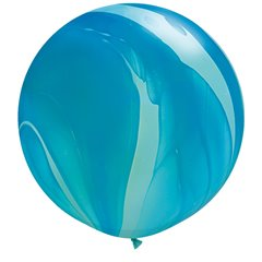 Balon Latex Superagate 30 inch (75 cm), Blue Rainbow, Qualatex 63756, set 2 buc