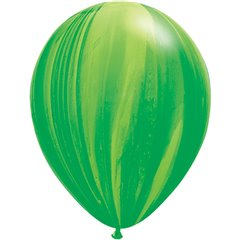 Balon Latex Superagate 11 inch (28 cm), Green Rainbow, Qualatex 91539