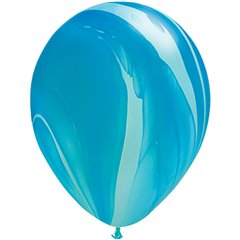 Balon Latex SuperAgate 11 inch (28 cm), Blue Rainbow, Qualatex 91538