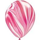 Balon Latex Superagate 11 inch (28 cm), Red White, Qualatex 39920, set 25 buc