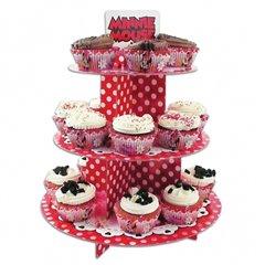 Suport prajituri 3 nivele cu Minnie Mouse pentru petrecere, 30 cm, Amscan 995246, 1 buc