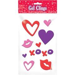 Stickere autocolante din ge cul inimioare, Amscan 220038, Set 12 buc
