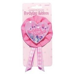 Insigna roz pentru fetite Birthday Princess, Amscan 210010, 1 buc