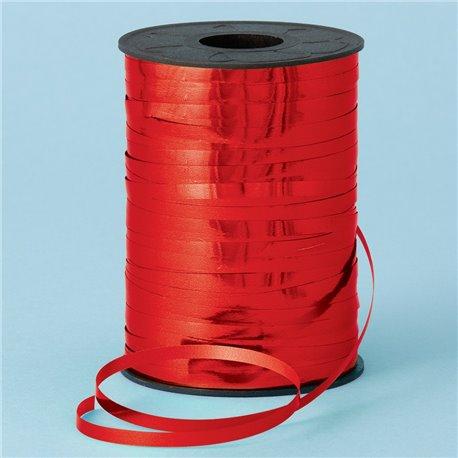 Rafie metalizata rosie pentru legat baloane latex sau folie - 250 m, Qualatex 25911, 1 rola