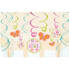 Serpentine decorative Baby Girl pentru petrecere, Amscan 671116, Set 12 buc