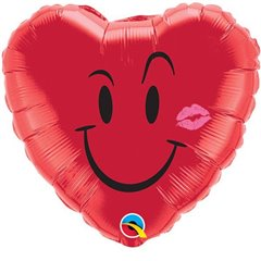 Balon folie inima Naughty Smile & A Kiss - 45 cm, Qualatex 10937