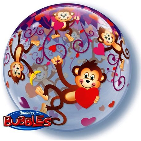 "Balon Bubble 22""/56 cm, Maimuta, Qualatex, 40193"