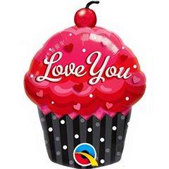 Balon Mini Figurina Love You Cupcake + bat si rozeta, Qualatex 40129