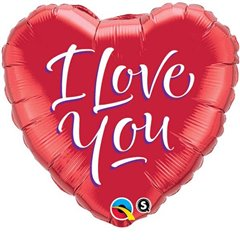 "Balon Folie 45 cm Inima - ""I Love You"", Qualatex 29133"