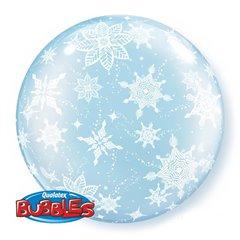 """Balon Deco Bubble 20""""/51cm Qualatex, Fulgi de nea, 15609"""