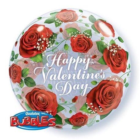 """Balon Bubble 22""""/56cm Qualatex, Happy Valentine's Day, 27513"""