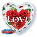 "Balon Bubble 22""/56cm Qualatex, Love cu Trandafiri Rosii, 33878"