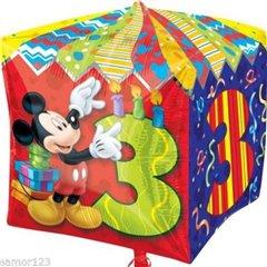 Balon Folie Cubez Mickey Mouse & Cifra 3 - 38cm, Amscan 28629